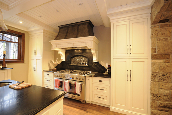 kitchen, painted kitchen, fan hood, island, kitchen cabinetry