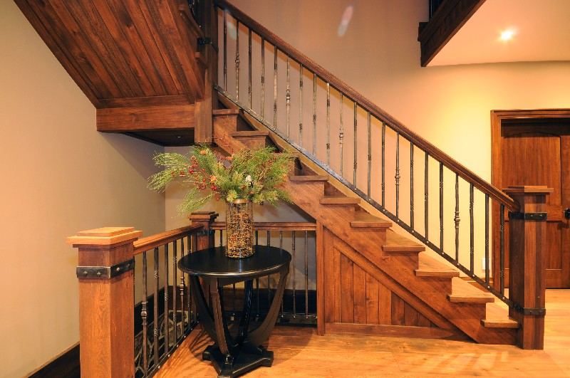 staircase, stairs, wooden stairs, wrought iron spindles